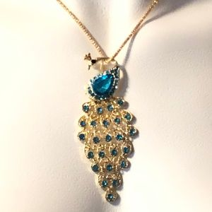 Peacock Crystal Bling Pendant On Goldtone Chain